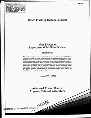 Primary view of object titled 'Cable tracking system proposal'.