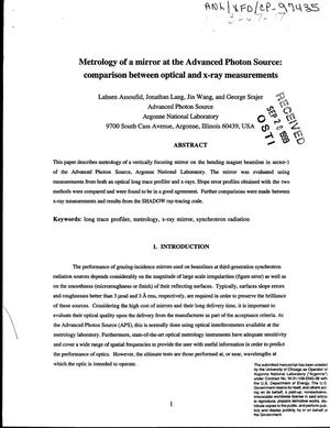 Primary view of object titled 'Metrology of a mirror at the Advanced Photon Source : comparison between optical and x-ray measurements.'.