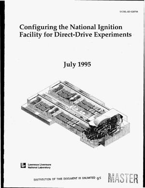 Primary view of object titled 'Configuring the National Ignition Facility for direct-drive experiments'.
