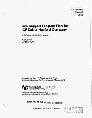 Primary view of object titled 'Site support program plan for ICF Kaiser Hanford Company, Revision 1'.