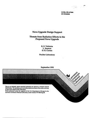 Primary view of object titled 'Nova upgrade design support threats from radiation effects in the proposed nova upgrade'.