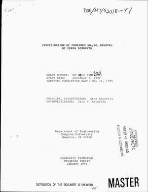 Primary view of object titled 'Investigation of combined SO{sub 2}/NO{sub x} removal by ceria sorbents. Quarterly technical progress report, October--December, 1994'.