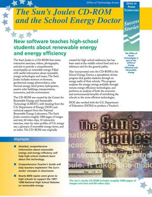 Primary view of object titled 'OUT Success Stories: The Sun's Joules CD-ROM and the School Energy Doctor'.