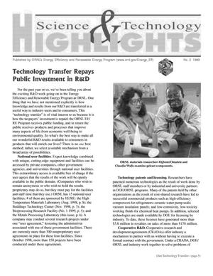 Primary view of object titled 'Science and Technology Highlights of ORNL's Energy Efficiency and Renewable Energy Program, Number 2, 1999'.