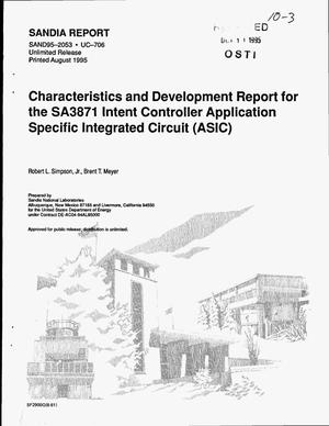 Primary view of object titled 'Characteristics and development report for the SA3871 Intent Controller application specific integrated circuit (ASIC)'.