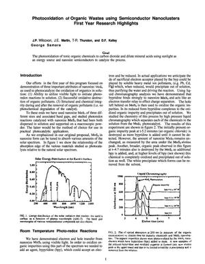 Primary view of object titled 'Photooxidation of organic wastes using semiconductor nanoclusters. 1997 annual progress report'.