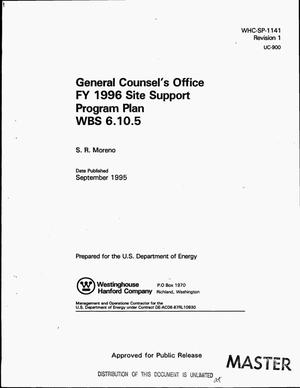 Primary view of object titled 'General Counsel`s Office FY 1996 Site Support Program Plan: WBS 6.10.5. Revision 1'.