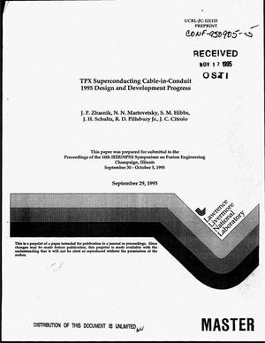 Primary view of object titled 'TPX superconducting cable-in-conduit 1995 design and development progress'.