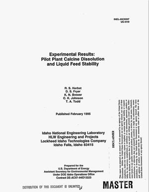 Primary view of object titled 'Experimental results: Pilot plant calcine dissolution and liquid feed stability'.