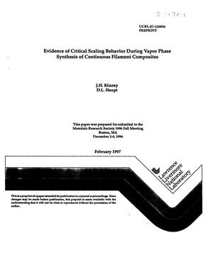 Primary view of object titled 'Evidence of critical scaling behavior during vapor phase synthesis of continuous filament composites'.