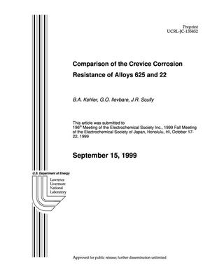 Primary view of object titled 'Comparison of the crevice corrosion resistance of alloys 625 and 22'.