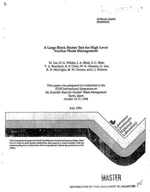 Primary view of object titled 'A large block heater test for high level nuclear waste management'.