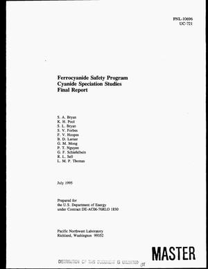 Primary view of object titled 'Ferrocyanide Safety Program cyanide speciation studies. Final report'.