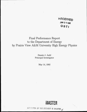 Primary view of object titled 'Support of hadroproduction of bottom using the 800 GeV/c primary proton beam at the Fermilab tevatron. Final performance report, June 14, 1988--May 14, 1992'.