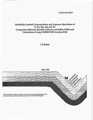 Primary view of object titled 'Solubility-limited concentrations and aqueous speciation fo U, Pu, Np, Am and Tc: Comparison between results of Bruno and Sellin (1992) and calculations using GEMBOCHS (version R16)'.