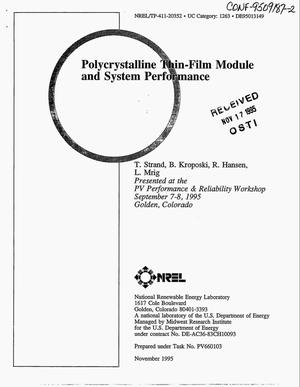 Primary view of object titled 'Polycrystalline thin-film module and system performance'.