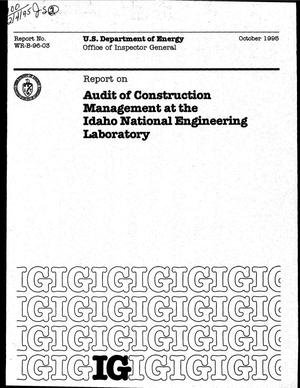 Primary view of object titled 'Audit of construction management at the Idaho National Engineering Laboratory'.