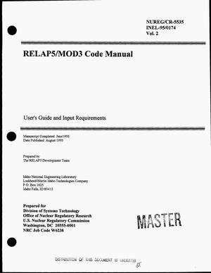 Primary view of object titled 'RELAP5/MOD3 code manual: User`s guide and input requirements. Volume 2'.