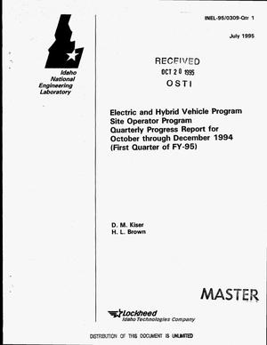 Primary view of object titled 'Electric and hybrid vehicle program site operator program. Quarterly progress report, October 1994--December 1994 (First quarter of FY-95)'.