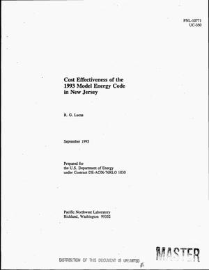 Primary view of object titled 'Cost effectiveness of the 1993 model energy code in New Jersey'.
