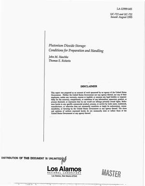 Primary view of object titled 'Plutonium dioxide storage: Conditions for preparation and handling'.