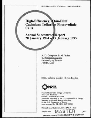 Primary view of object titled 'High-efficiency, thin-film cadmium telluride photovoltaic cells. Annual subcontract report, 20 January 1994--19 January 1995'.