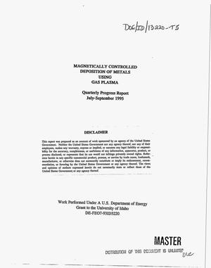 Primary view of object titled 'Magnetically controlled deposition of metals using gas plasma. Quarterly progress report, July 1995--September 1995'.