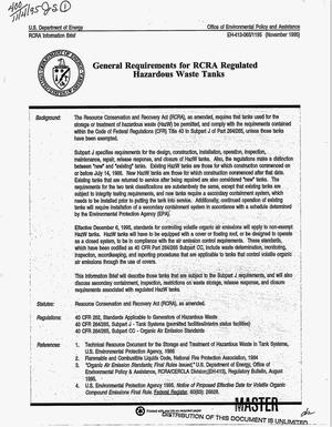Primary view of object titled 'General requirements for RCRA regulated hazardous waste tanks'.