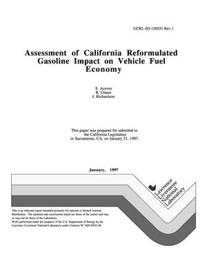 Primary view of object titled 'Assessment of California reformulated gasoline impact on vehicle fuel economy'.
