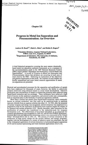 Primary view of object titled 'Progress in metal ion separation and preconcentration : an overview.'.