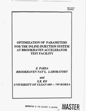 Primary view of object titled 'Optimization of parameters for the inline-injection system at Brookhaven Accelerator Test Facility'.