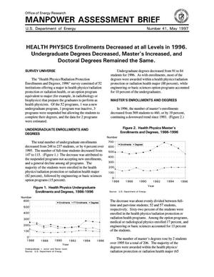 Primary view of object titled 'Manpower Assessment Brief #41: Health Physics Enrollments Decreased at all Levels in 1996. Undergraduate Degrees Decreased, Master`s Increased, and Doctoral Degrees Remained the Same'.