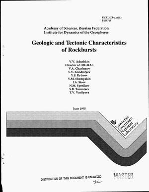 Primary view of object titled 'Geologic and tectonic characteristics of rockbursts'.