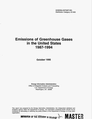 Primary view of object titled 'Emissions of greenhouse gases in the United States, 1987--1994'.