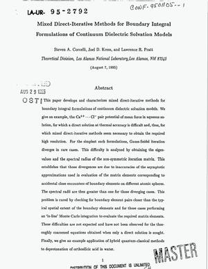 Primary view of object titled 'Mixed direct-iterative methods for boundary integral formulations of continuum dielectric solvation models'.