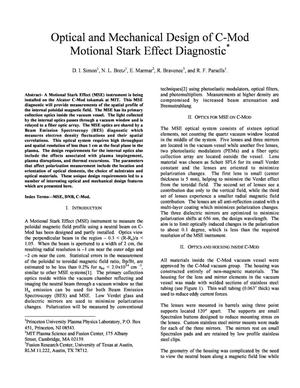 Primary view of object titled 'Optical and Mechanical Design of C-Mod Motional Stark Effect Diagnostic'.
