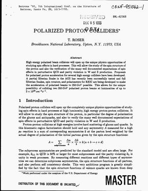 Primary view of object titled 'Polarized proton colliders'.