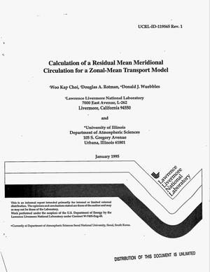 Primary view of object titled 'Calculation of a residual mean meridional circulation for a zonal-mean tracer transport model: Revision 1'.