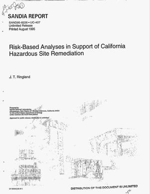 Primary view of object titled 'Risk-based analyses in support of California hazardous site remediation'.