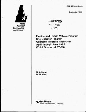 Primary view of object titled 'Electric and Hybrid Vehicle Program: Site Operator Program. Quarterly progress report, April--June 1995'.