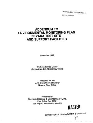 Primary view of object titled 'Addendum to environmental monitoring plan Nevada Test Site and support facilities'.