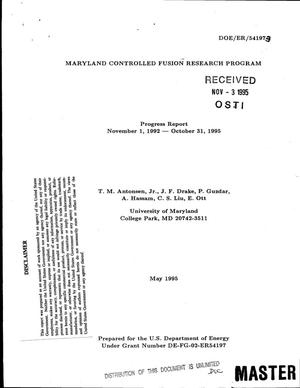 Primary view of object titled 'Maryland Controlled Fusion Research Program. Progress report, November 1, 1992--October 31, 1995'.