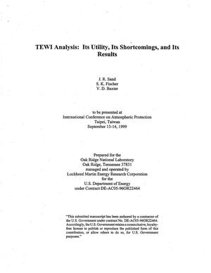 Primary view of object titled 'TEWI Analysis: Its Utility, Its Shortcomings, and Its Results'.