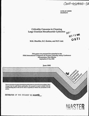 Primary view of object titled 'Criticality concerns in cleaning large uranium hexafluoride cylinders'.