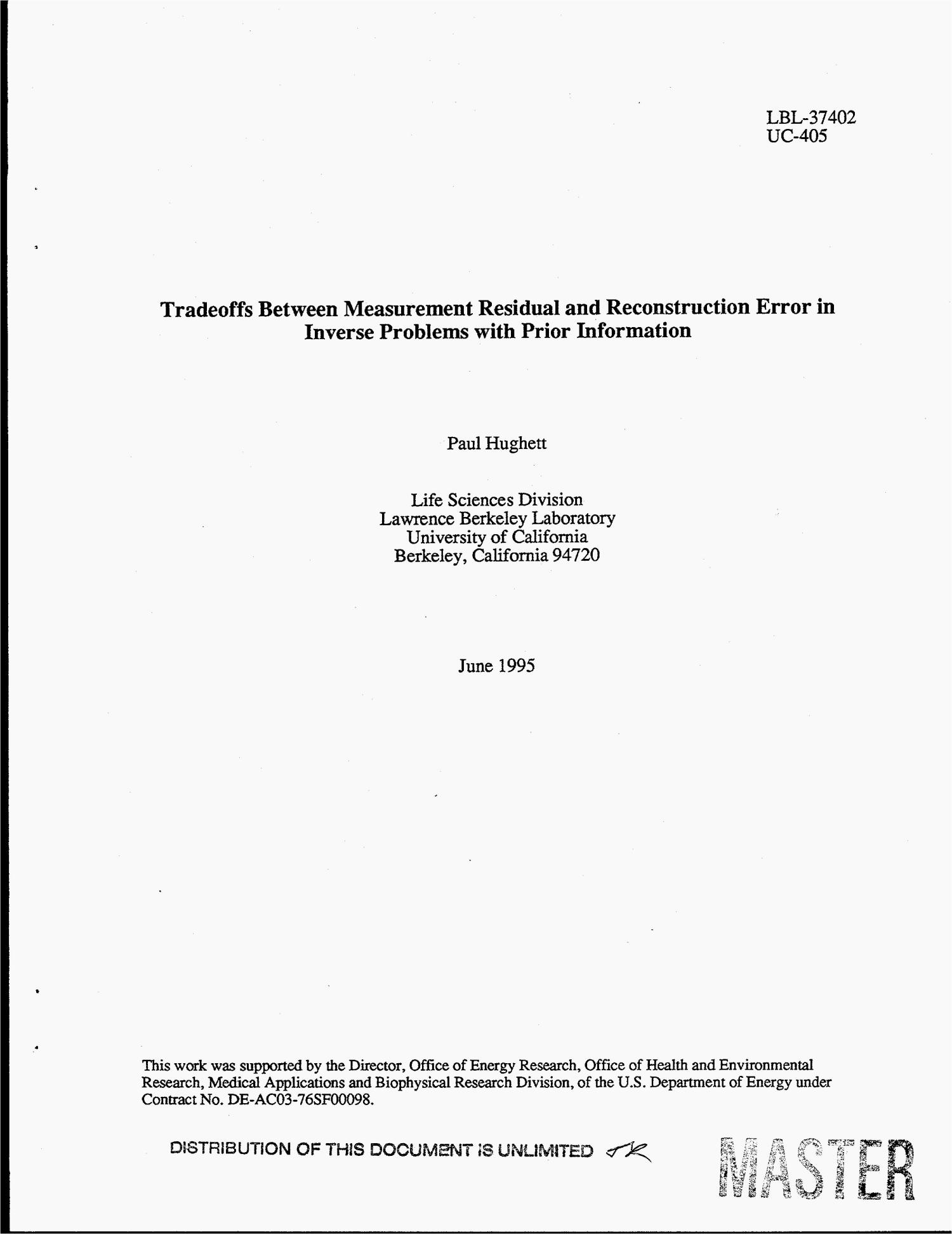 Tradeoffs between measurement residual and reconstruction error in inverse problems with prior information                                                                                                      [Sequence #]: 3 of 16