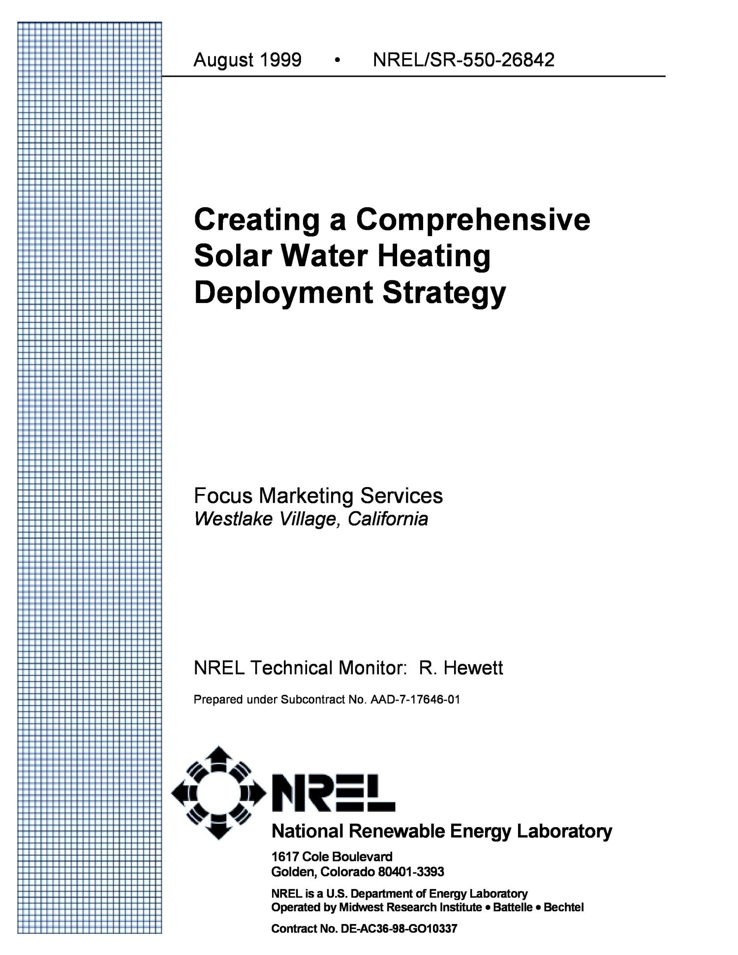 Creating a Comprehensive Solar Water Heating Deployment Strategy                                                                                                      [Sequence #]: 2 of 28