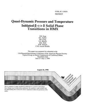 Primary view of object titled 'Quasi-dynamic pressure and temperature'.