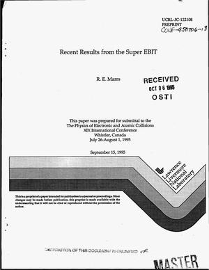 Primary view of object titled 'Recent results from the super EBIT'.