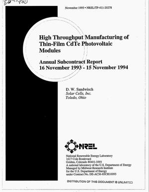 Primary view of object titled 'High throughput manufacturing of thin-film CdTe photovoltaic modules. Annual subcontract report, 16 November 1993--15 November 1994'.