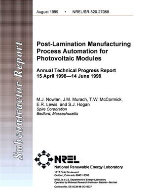 Primary view of object titled 'Post-Lamination Manufacturing Process Automation for Photovoltaic Modules'.